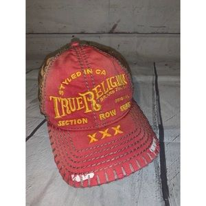 True religion distressed baseball hat adjustable